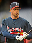 30 March 2008: Atlanta Braves' outfielder Mark Kotsay warms up prior to facing the Washington Nationals at Nationals Park in Washington, DC. The Nationals christened their  new ballpark with a win over the visiting Braves 3-2 in the inaugural game of the state-of-the-art sports facility...Mandatory Photo Credit: Ed Wolfstein Photo