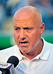 9 July 2011: Washington Nationals General Manager Mike Rizzo is interviewed by the media prior to a game against the Colorado Rockies at Nationals Park in Washington, District of Columbia. The Nationals were edged out by the Rockies 2-1, dropping the second game of their 3-game series. Mandatory Credit: Ed Wolfstein Photo