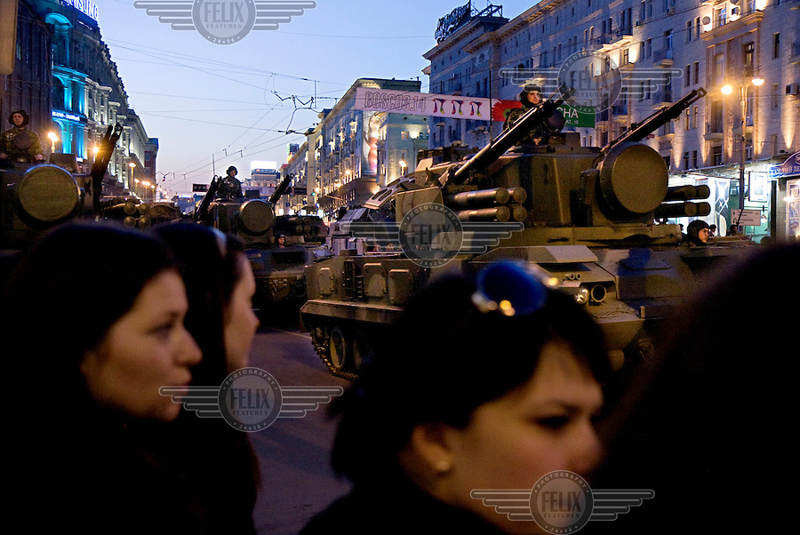 Russians watch a rehearsal of military parade for the Victory Day on May 9th in Moscow to show off Russia's arsenal and commemorate the Second World War.© Justin Jin