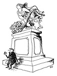 (Man eating an apple underneath a statue with a cornucopia spilling out fruit)