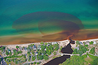 Discharge of the Lincoln River into Lake Michigan, Michigan, USA