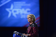 National Harbor, MD - February 23, 2017: U.S. Secretary of Education Betsy DeVos addresses attendees at the Conservative Political Action Conference at the Gaylord National Hotel in National Harbor, MD, February 23, 2017.  (Photo by Don Baxter/Media Images International)