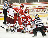 Barry Almeida (BC - 9), Charlie Coyle (BU - 3), Patch Alber (BC - 27), Joe Pereira (BU - 6) - The Boston College Eagles defeated the visiting Boston University Terriers 5-2 on Saturday, December 4, 2010, at Conte Forum in Chestnut Hill, Massachusetts.