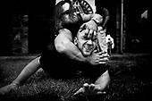 Wlosciejewki 25.07.2009 Poland.Controversial practice of martial arts BAS3, invented by Andrzej Bryl. One of the trainers shows how to strangle and liquidate enemy..Training of the elite security service by European Security Academy ( its founder is living legend Andrzej Bryl ) and Israeli security forces Shin Bet in E.S.A seat in Wlosciejewki ( Poland ). This is the first course for international elite bodyguards, who will protect VIP's and promoters on the FIFA World Cup in RPA 2010 and UEFA European Cup in Poland and Ukraine 2012..Photo: Adam Lach / Napo Images..Kontrowersyjne cwiczenia ze sztuki walk BAS3, wymyslonej przez Andrzeja Bryla. Zyjaca Legenda Andrzej Bryl pokazuje jak dusic i zlikwidowac przeciwnika..Szkolenie elitarnych sluzb ochroniarzy przez European Security Academy ( jej zalozycielem jest zyjaca legenda dr. Andrzej Bryl ) i izraelskie sluzby bezpieczenstwa Shin Bet. To pierwsze szkolenia dla miedzynarodowych elitarnych ochroniarz, ktorzy beda zabezpieczac VIP'ow i organizatorow podczas Mistrzostw Swiata w pilce noznej RPA 2010 i w trakcie Mistrzostw Europy w Polsce i na Ukrainie w 2012..Fot: Adam Lach / Napo Images