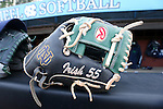 25 April 2016: Notre Dame's Melissa Rochford's glove. The University of North Carolina Tar Heels hosted the University of Notre Dame Fighting Irish at Anderson Stadium in Chapel Hill, North Carolina in a 2016 NCAA Division I softball game. UNC won the game 7-6.