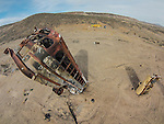 Burned and intact school busses, National Junk Car Forest (World's Largest), Goldfield, Nev. from the air<br /> <br /> (International Car Forest of The Last Church)<br /> <br /> Eccentric art created by Chad Sorg