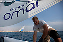 8th October  2010. Almeria. Spain..Pictures of the Oman Sail Masirah EX40 bowman David Carr with The Wave Muscat  in action during the press day.