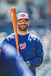 21 April 2013: Washington Nationals second baseman Danny Espinosa awaits his turn in the batting cage prior to a game against the New York Mets at Citi Field in Flushing, NY. The Mets shut out the visiting Nationals 2-0, taking the rubber match of their 3-game weekend series. Mandatory Credit: Ed Wolfstein Photo *** RAW (NEF) Image File Available ***