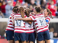 USWNT goal celebration.  The USWNT defeated Scotland, 4-1, during a friendly at EverBank Field in Jacksonville, Florida.