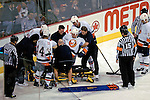 3 February 2007: New York Islanders defenseman Radek Martinek of the Czech Republic is lifted onto a stretcher after suffering an injury in the first period at the Bell Centre in Montreal, Canada. The Islanders defeated the Canadiens 4-2.Mandatory Photo Credit: Ed Wolfstein Photo *** Editorial Sales through Icon Sports Media *** www.iconsportsmedia.com