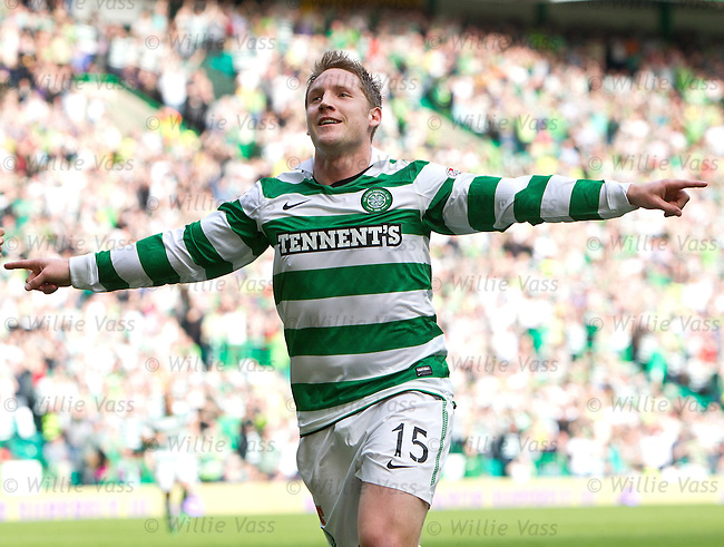 Kris Commons celebrates scoring the winning goal for Celtic