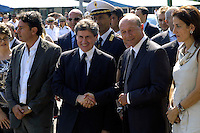 Rome  July 31 2008.Romanian President Traian Basescu with the mayor of Rome Gianni Alemanno during a visit to the camp inhabited by Roma Romanian Romani on the outskirts of Rome.