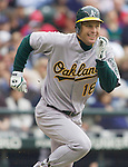 Oakland Athletics Gabe Gross runs to first base in the first inning against the  Seattle Mariners opening home game of the season at SAFECO Field in Seattle April 12, 2010. Gross grounded out to Mariners first baseman Casey Kotchman. The Athletics beat the Mariners 4-0.
