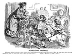 "Hereditary Instinct. Suffragette mother (snatching a spare moment from really important things to visit the nursery). ""But, my dear child, what are you crying for, with all these nice toys? What can you want?"" Infant. ""Boo-hoo! I want a vote!"""