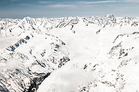 Aerial view of Franz Josef Glacier neve with Mt. Elie de Beaumont 3109m on left and Malte Brun 3199m on right, Westland National Park, West Coast, New Zealand