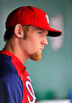 8 September 2011: Washington Nationals pitcher Stephen Strasburg watches play from the dugout during a game against the Los Angeles Dodgers at Nationals Park in Washington, DC. The Dodgers defeated the Nationals 7-4 to take the third game of their 4-game series. Mandatory Credit: Ed Wolfstein Photo