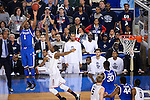07 APR 2014: James Young (1) of the University of Kentucky shoots a three over Lasan Kromah (20) of the  University of Connecticut  during the 2014 NCAA Men's DI Basketball Final Four Championship at AT&T Stadium in Arlington, TX.  Connecticut defeated Kentucky 60-54 to win the national title. Brett Wilhelm/NCAA Photos