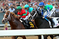 HOT SPRINGS, AR - MARCH 18: Untrapped #6, ridden by Javier Castellano holds off Uncontested #2 and Royal Mo #10 during the start of the Rebel Stakes race at Oaklawn Park on March 18, 2017 in Hot Springs, Arkansas. (Photo by Justin Manning/Eclipse Sportswire/Getty Images)
