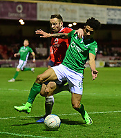 Lincoln City's Josh Ginnelly vies for possession with York City's Danny Holmes<br /> <br /> Photographer Andrew Vaughan/CameraSport<br /> <br /> The Buildbase FA Trophy Semi-Final First Leg - York City v Lincoln City - Tuesday 14th March 2017 - Bootham Crescent - York<br />  <br /> World Copyright &copy; 2017 CameraSport. All rights reserved. 43 Linden Ave. Countesthorpe. Leicester. England. LE8 5PG - Tel: +44 (0) 116 277 4147 - admin@camerasport.com - www.camerasport.com