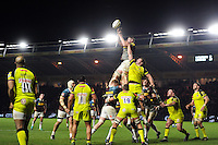 George Merrick of Harlequins wins the ball at a lineout. Aviva Premiership match, between Harlequins and Leicester Tigers on February 24, 2017 at the Twickenham Stoop in London, England. Photo by: Patrick Khachfe / JMP