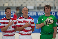 PAPEETE, Tahiti - Thursday September 19, 2013: US Men's National Beach Soccer Team loses their opening group stage match versus Spain 5-4, at the 2013 Fifa Beach Soccer world Cup in Papeete, Tahiti