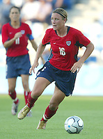 14 August 2004:  USA Abby Wambach in action against Brazil  at Kaftanzoglio Stadium in Thessaloniki, Greece.   USA defeated Brazil, 2-0. Credit: Michael Pimentel / ISI