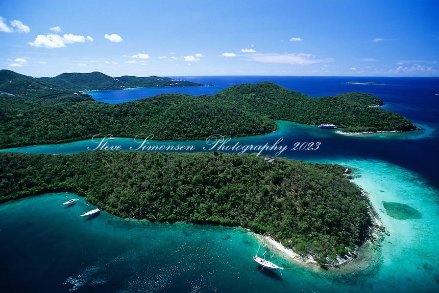 Aerial view of Hurricane Hole<br /> St. John<br /> U.S Virgin Islands