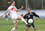 03 November 2010: Maryland's Colleen Deegan (22) and Duke's Laura Weinberg (16). The Maryland Terrapins defeated the Duke Blue Devils 1-0 in an ACC Women's Soccer Tournament quarterfinal game at Koka Booth Stadium at WakeMed Soccer Park in Cary, NC.