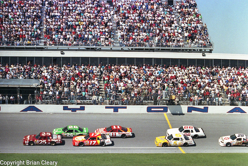 busch pole clash action  at Daytona International Speedway on February 1989.  (Photo by Brian Cleary/www.bcpix.xom)