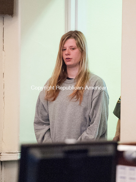 LITCHFIELD, CT-1 May 2015-050115EC02-  Heather Birden walks into Litchfield Superior Court Friday morning. The 20-year-old is charged with murder in the killing Holly Aeschlimann, 19, on April 17 in Torrington. Erin Covey Republican-American