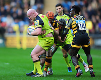 Dan Cole of Leicester Tigers is tackled in possession. Aviva Premiership match, between Wasps and Leicester Tigers on January 8, 2017 at the Ricoh Arena in Coventry, England. Photo by: Patrick Khachfe / JMP