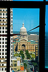 Texas Capitol and Congress Avenue as seen from the Austonian in Austin Texas, February 11, 2009.  The Austonian is a residential skyscraper currently under construction in Austin. Upon completion in 2009, the building will be the tallest in Austin at 683 feet tall with 56 floors.
