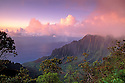 Kalalau Valley at sunset from Kokee State Park lookout, Kauai, Hawaii.