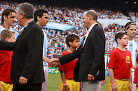 MLS commissioner Don Garber shakes hands with Argentina defender Nicolas Burdisso (4). The men's national teams of the United States and Argentina played to a 0-0 tie during an international friendly at Giants Stadium in East Rutherford, NJ, on June 8, 2008.