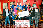 Cheque Presentation: Dominick Lynch of the Moyvane Bikers Club presenting a cheque for €5106.00, the proceeds of a recent Biker run to Gemma Brien , North Kerry Eagles Special Olympics Club in Kearney's Bar, Moyvane on Saturday night last.