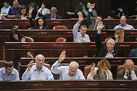 MK`s and ministores raises their hand during a plenum session voting on the state budget, in the Knesset, Israel's Parliament, in Jerusalem, late night July 29, 2013. The Knesset approved the State Budget at second and third readings in the early hours of Tuesday morning in a 58-43 vote, following a 15-hour parliamentary session. Photo by Oren Nahshon