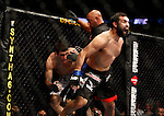 August 8, 2009; Philadelphia, PA; USA; Amir Sadollah (white trunks) and Johny Hendricks (black/blue) battle during their bout at UFC 101: Declaration at the Wachovia Center in Philadelphia, PA.  Hendricks won via controversial 1st round TKO.
