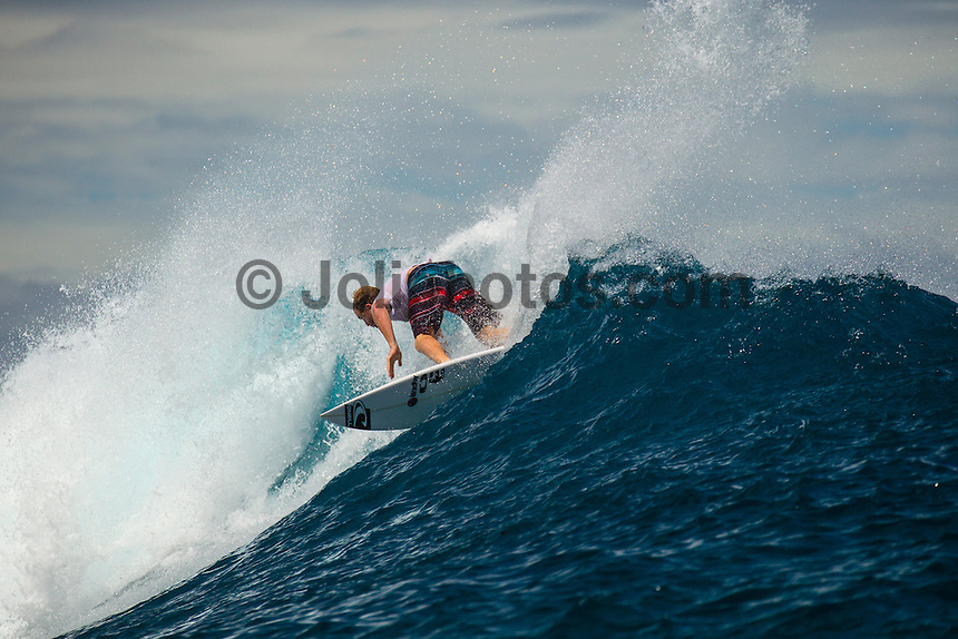 Namotu Island Resort, Fiji. (Tuesday, September 11, 2012) -  There was small  surf in the 3' + range at first light today but as the tide filled in so do the swell. By mid morning there were solid 6'- 8' sets at Cloudbreak but the wind blew it out by midday.  Photo: joliphotos.com