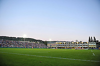 A general view of the Recreation Ground during the match. West Country Challenge Cup match, between Bath Rugby and Gloucester Rugby on September 26, 2015 at the Recreation Ground in Bath, England. Photo by: Patrick Khachfe / Onside Images