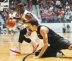 Mississippi's Derrick Millinghaus (3) gets the ball as Missouri's Stefan Jankovic (35) defends at the C.M. &quot;Tad&quot; Smith Cliseum on Saturday, January 12, 2013. (AP Photo/Oxford Eagle, Bruce Newman)