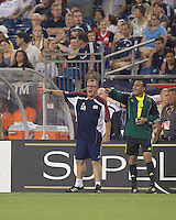 New England Revolution head coach Steve Nicol upset at call. Monarcas Morelia defeated the New England Revolution, 2-1, in the SuperLiga 2010 Final at Gillette Stadium on September 1, 2010.