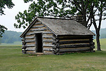 Valley Forge National Historical Park.  Log house for troops..Philadelphia, Pennsylvania, PA USA.  Photo copyright Lee Foster, 510-549-2202, lee@fostertravel.com, www.fostertravel.com.  Photo 367-30330
