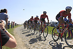 The peloton with Trek-Segafredo on the front on pave sector 17 Hornaing a Windignies during the 115th edition of the Paris-Roubaix 2017 race running 257km Compiegne to Roubaix, France. 9th April 2017.<br /> Picture: Eoin Clarke | Cyclefile<br /> <br /> <br /> All photos usage must carry mandatory copyright credit (&copy; Cyclefile | Eoin Clarke)