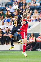 Gabriel Farfan (15) of the Philadelphia Union. The Chicago Fire defeated the Philadelphia Union 3-1 during a Major League Soccer (MLS) match at PPL Park in Chester, PA, on August 12, 2012.