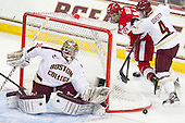 Parker Milner (BC - 35), Wade Megan (BU - 18), Teddy Doherty (BC - 4) - The Boston College Eagles defeated the visiting Boston University Terriers 5-2 on Saturday, December 1, 2012, at Kelley Rink in Conte Forum in Chestnut Hill, Massachusetts.