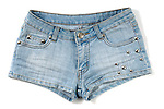 Blue sexy female jeans shorts isolated on white background