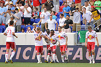 Dane Richards (19) (C) of the New York Red Bulls celebrates scoring the game winning goal. The New York Red Bulls defeated Manchester City F. C.2-1 during a Barclays New York Challenge match at Red Bull Arena in Harrison, NJ, on July 25, 2010.