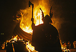 Up Helly Aa. Lerwick Sheltand. Scotland. Fire festival burning Viking Long Boat. <br /> <br /> The festival now takes place on the last Tuesday in January annually.