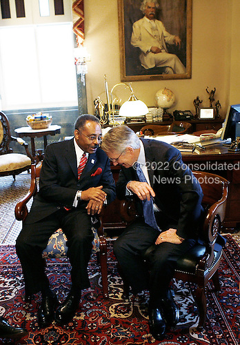 Washington, DC - January 7, 2009 -- Illinois U.S. Senate appointee Roland Burris (L) meets with Senate Majority Leader Harry Reid (D-NV) (R) on Capitol Hill Tuesday, January 7, 2009 in Washington, DC. Burris, who was appointed by Illinois Governor Rod R. Blagojevich to replace President Elect Barack Obama's Senate seat, returned to the Hill for a meeting with Democratic Senate leaders to discuss his appointment to the Senate. .Credit: Alex Wong - Pool via CNP