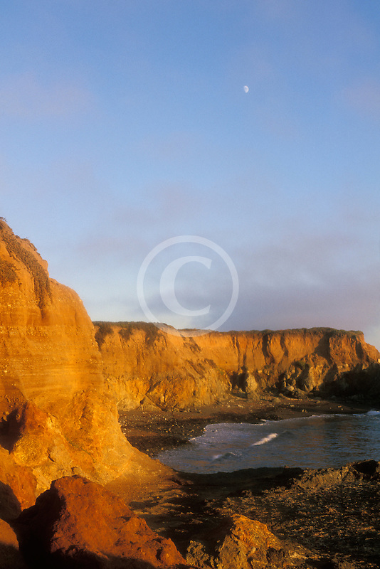 California, San Luis Obispo County, Coast south of Ragged Point with moon